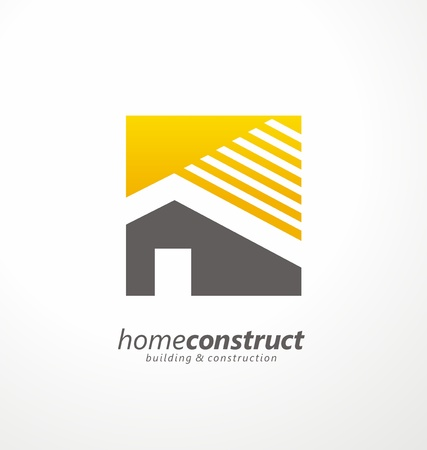 Home construction vector logo design Stock Illustratie