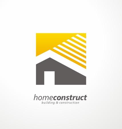Home bouw vector logo ontwerp Stock Illustratie