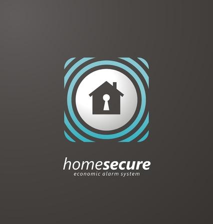 Home security economic alarm systems logo design idea