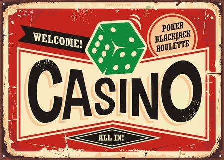 Casino gambling retro sign background vector illustration Иллюстрация