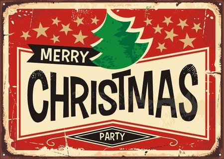 Illustrazione d'annata di vettore del fondo dell'insegna del segno di Buon Natale