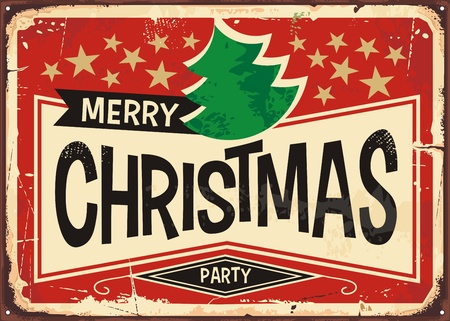 Merry christmas vintage sign banner background vector illustration