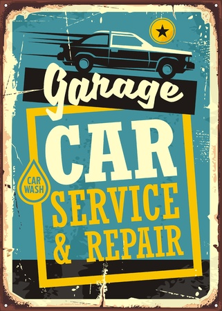 Cars and garage retro sign template. Car service and repair vintage sign with car side view and creative typography.  イラスト・ベクター素材
