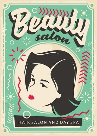 Beauty salon retro poster design with pretty young girl portrait.
