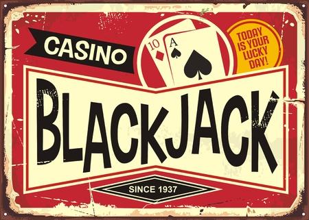 Sinal de cassino retrô de blackjack. Tema do jogo ou do casino com borne de sinal decorativo do jaque preto. Ilustración de vector