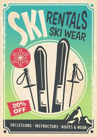 Ski rentals retro promo poster design
