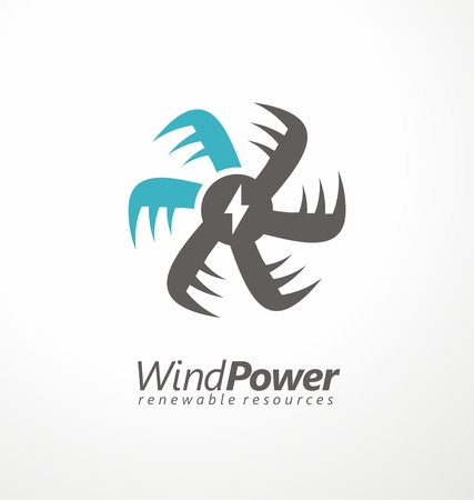 Wind power creative logo concept for renewable energy sources