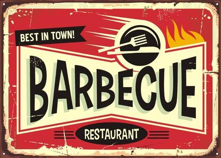 Barbecue retro sign design for fast food restaurant. Vectores