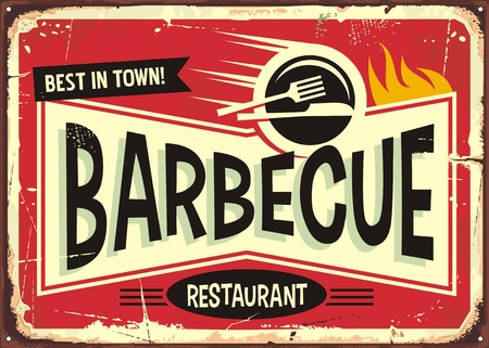 Barbecue retro sign design for fast food restaurant. Ilustração