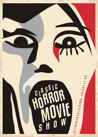 무시 무시한 얼굴로 비명을 지르는 공포 영화 포스터 디자인. 무서운 영화 클래식 쇼를위한 영화 포스터.