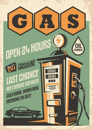 Gas station retro poster design. Vintage flyer with car graphic and gas pump illustration.