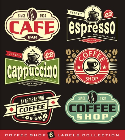 Coffee labels and stickers collection. Ilustração