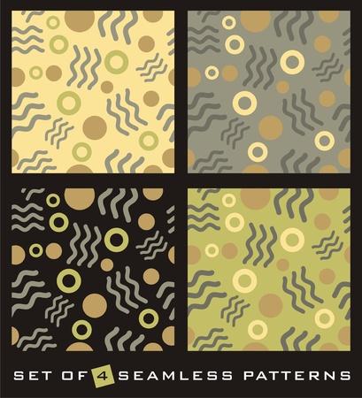 간단한 기하학적 인 도형으로 4 개의 추상 원활한 패턴의 집합입니다. 일러스트