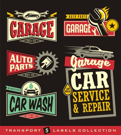 Car labels, signs, emblems, logos and stickers collection. Garage, car service, auto parts, car wash.