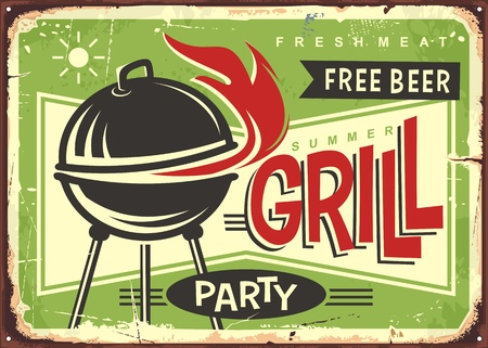 Grill appliance with red fire flames on summer green background. Barbecue party retro sign design.