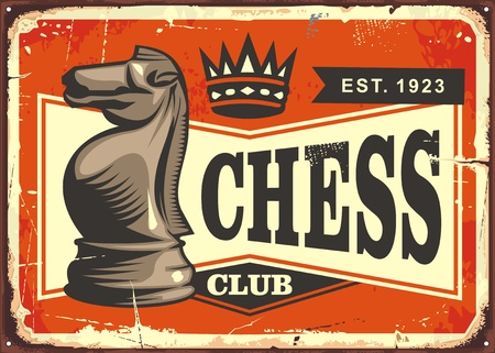 Schaken club vintage tin bord met ridder schaakstuk op oude achtergrond.