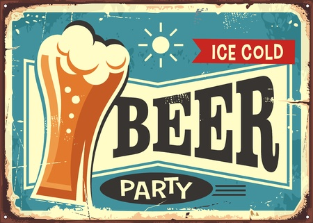 Beer party retro pub sign Иллюстрация