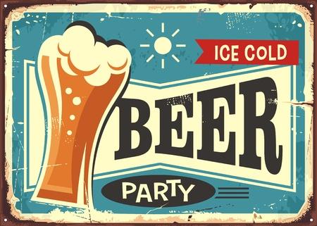 Beer party retro pub sign Vettoriali
