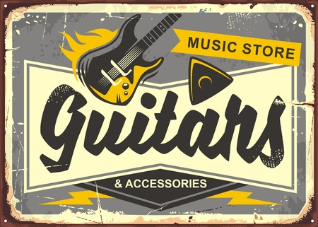 Guitar store retro advertisement sign board with electric guitar, guitar pick and creative typo