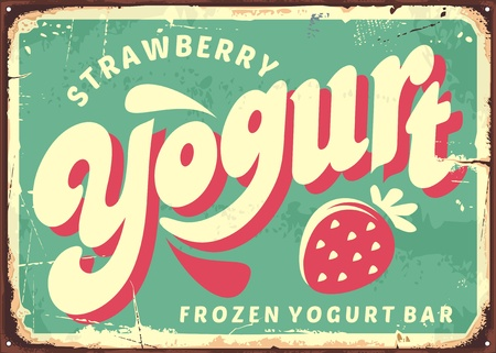 Strawberry frozen yogurt retro sign board design. 向量圖像