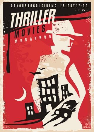 Kreatywny projekt plakatu na pokaz filmu sensacyjnego Ilustracje wektorowe