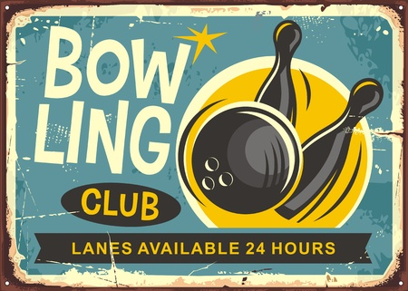 Bowling club retro poster design vector illustration