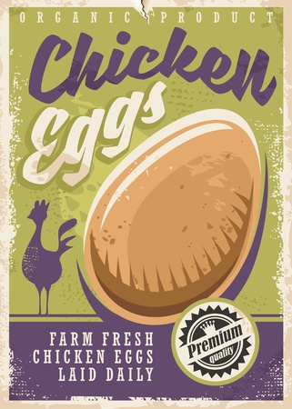 Eggs promotional poster design. Farm fresh chicken eggs poster with chicken silhouette and organic egg graphic.