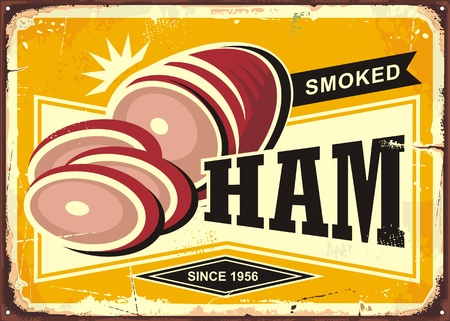 Smoked ham vintage advertising illustration on  yellow background. Banco de Imagens - 93453007