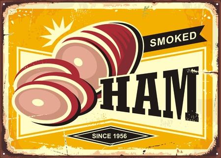 Smoked ham vintage advertising illustration on  yellow background.