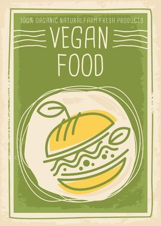 비건 채식 음식 홍보 배너 디자인 일러스트