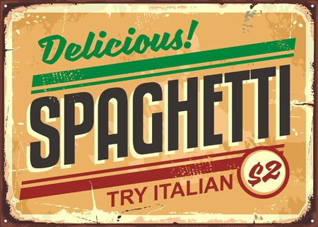 Delicious spaghetti meal vintage sign board advertise Çizim