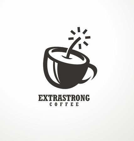 コーヒーのロゴ。爆弾やダイナマイトとして作られたコーヒーカップと余分な強いコーヒーのための創造的なロゴデザインのアイデア。