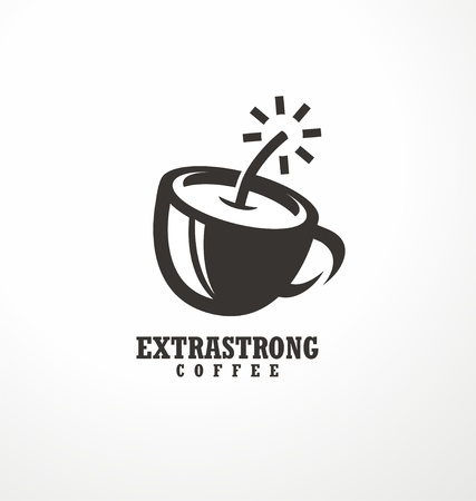 Coffee logo. Creative logo design idea for extra strong coffee with coffee cup made as bomb or dynamite. Ilustrace