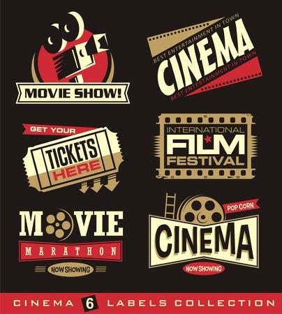 Kino i filmy zestaw etykiet, emblematów, banerów i elementów projektu. Ilustracje wektorowe