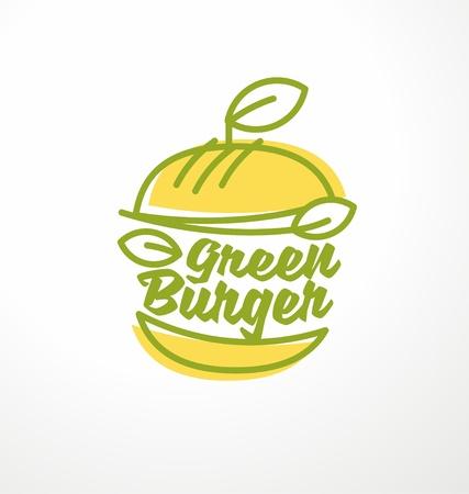 Hamburguesa sana hecha de ingredientes orgánicos verdes Foto de archivo - 94073740