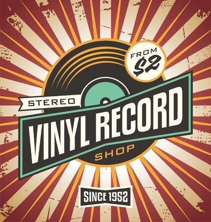 Vinyl record shop retro sign design Vettoriali