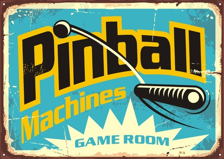 Pinball machines game room retro sign advertisement. Leisure flipper games vintage poster design.