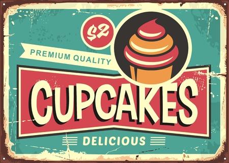 キャンディショップのためのおいしいカップケーキレトロサイン