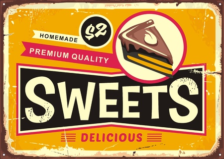 Sweets and cakes vintage tin sign layout for candy store