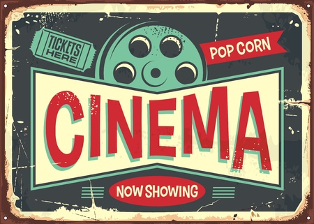 Cinema retro decorative sign layout. Vintage poster design for cinema. Movies and entertainment theme. Vector illustration.