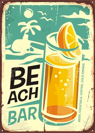 Summer beach bar retro sign design with glass of cold drink and sea landscape in background Ilustração