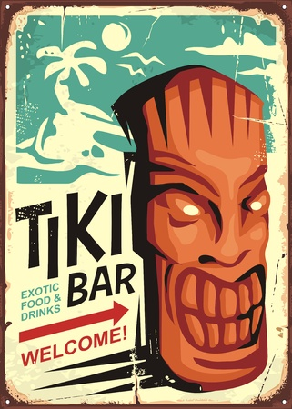 Tiki bar vintage sign concept with tiki mask and tropical landscape. Hawaii cafe restaurant ad on old retro background. Çizim