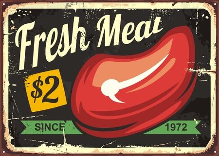 Fresh meat vintage sign design for butcher shop or grocery store. Food and drink theme vector illustration.