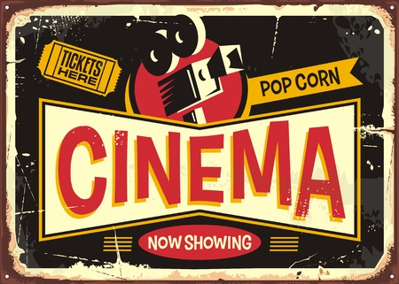 Cinema retro tin sign design template. Vintage entertainment poster layout with movie camera and cinema ticket on a black background.