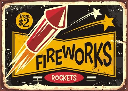 Retro fireworks sign with red rocket on old metal background. Vintage poster or flyer design for fire works rockets retailer. Vektorové ilustrace