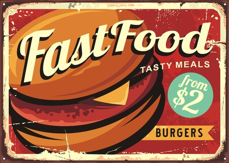 Burger retro sign decoration for fast food restaurant Illustration