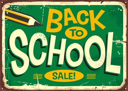 Back to school retro sign advertising with pencil and creative lettering