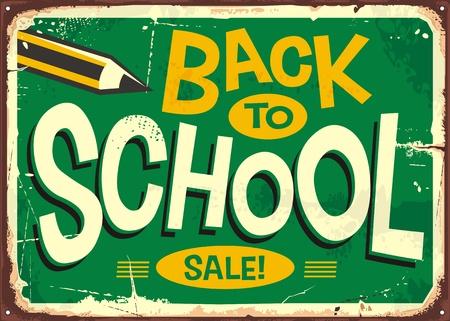 Publicidad de letrero retro de regreso a la escuela con lápiz y letras creativas Ilustración de vector