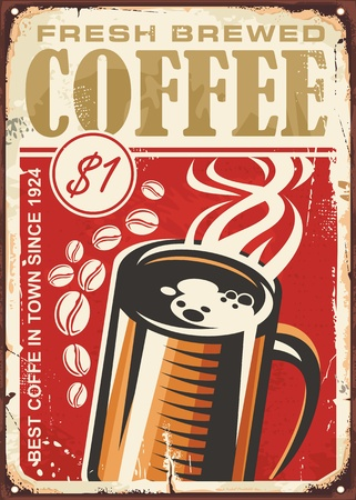 Fresh brewed coffee vintage sign design with coffee cup on old red background Vettoriali