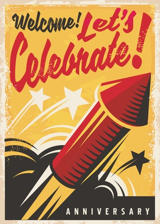 Anniversary celebration retro poster or invitation design template with red fireworks rocket on yellow background  イラスト・ベクター素材